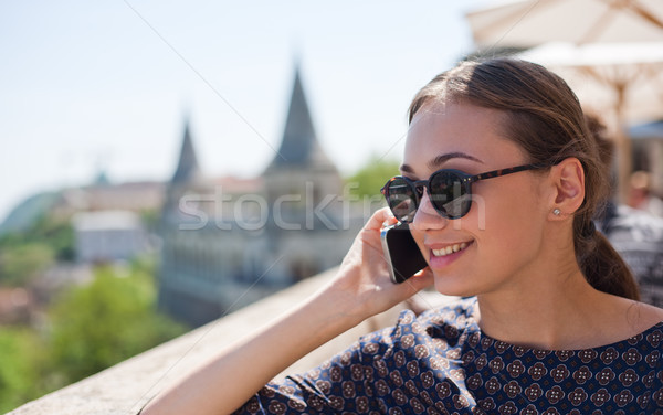 Tourist woman enjoying the view. Stock photo © lithian