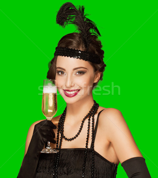 Art deco party girl on green screen background. Stock photo © lithian