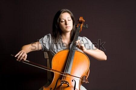 Szenvedélyes igazi művész fiatal nő játszik klasszikus Stock fotó © lithian