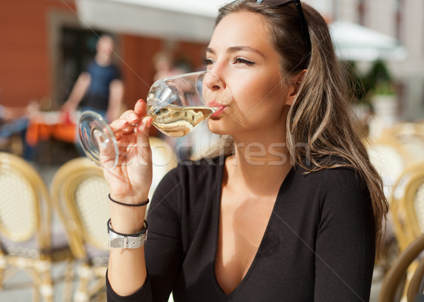 Brunette beauty having wine fun. Stock photo © lithian