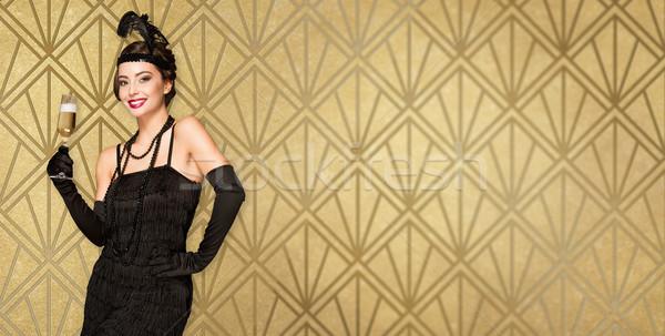 Art deco estilo fiesta nina retrato 20s Foto stock © lithian