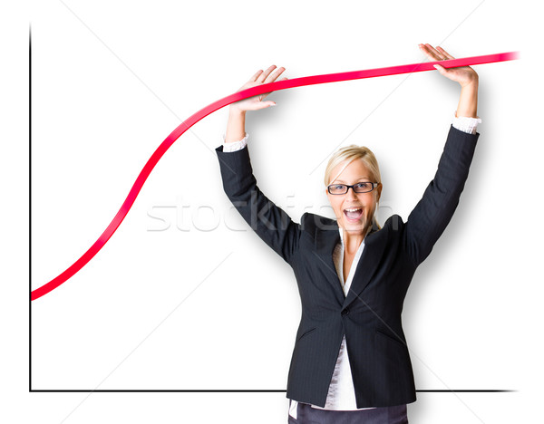 Blond busnes woman pushing the graph line. Stock photo © lithian