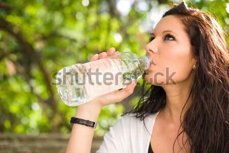 Forró nyár nap barna hajú szépség iszik Stock fotó © lithian