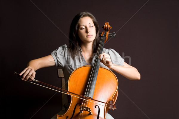 Klasszikus művészet portré gyönyörű fiatal csellista Stock fotó © lithian