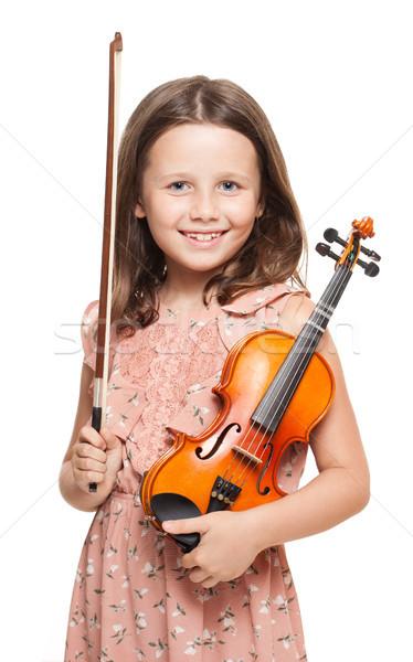 Stock fotó: Fiatal · barna · hajú · lány · játszik · hegedű · portré