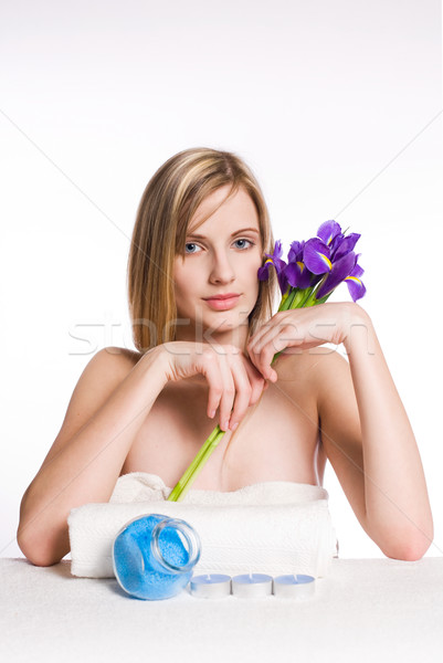 Pur spa beauté iris fleur portrait Photo stock © lithian