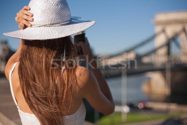 Gorgeous young tourist girl. Stock photo © lithian