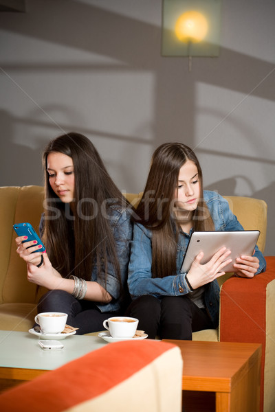 Elveszett kommunikáció kettő lányok számítógép nők Stock fotó © lithian