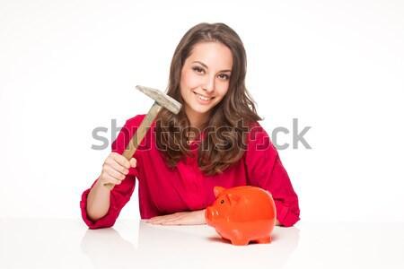 Megtakarított pénz portré barna hajú szépség pózol narancs Stock fotó © lithian