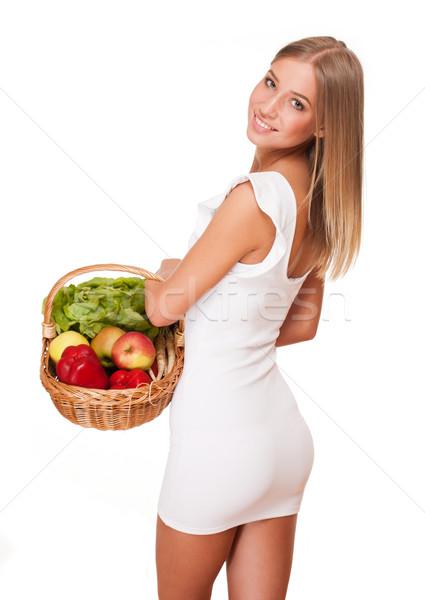 バスケット 健康食 フィット ゴージャス 小さな ブロンド ストックフォト © lithian