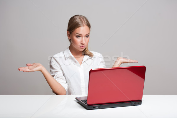 Blond beauty with laptop. Stock photo © lithian
