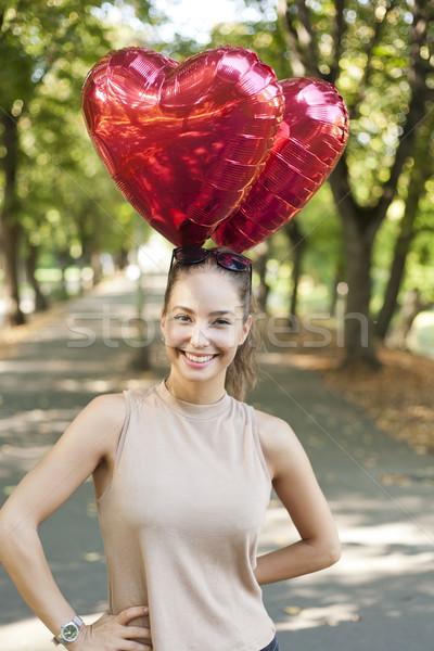 Stockfoto: Mijn · zomer · harten · mooie · vrolijk · jonge