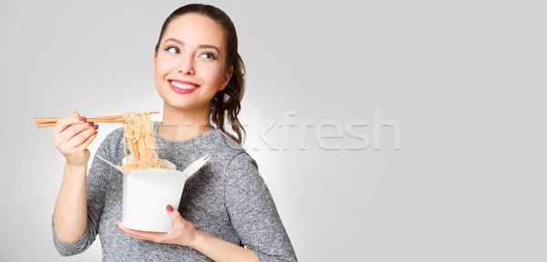 Brünette Schönheit Porträt Essen Essen Stock foto © lithian