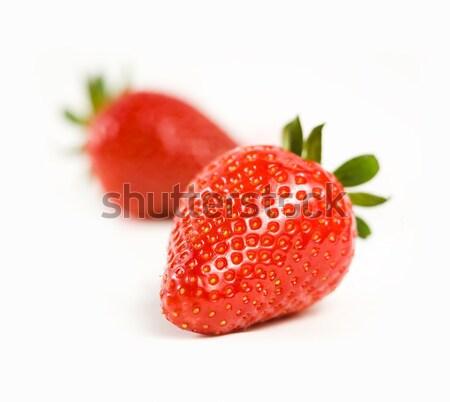 Piękna dojrzały truskawek makro shot żywności Zdjęcia stock © lithian