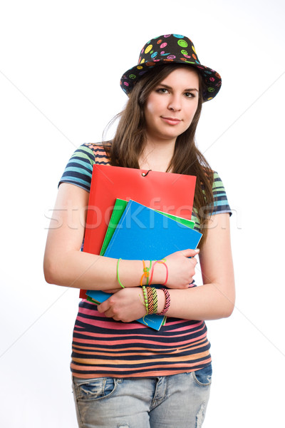 Cute young student girl. Stock photo © lithian