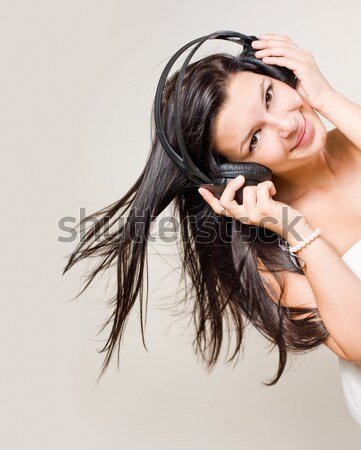 Hosszú hajú barna hajú nő portré nő boldog modell Stock fotó © lithian