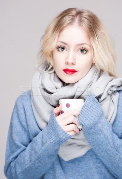 Foto stock: Frío · belleza · retrato · hermosa · jóvenes · rubio