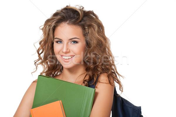 Káprázatos fiatal barna hajú diák lány portré Stock fotó © lithian