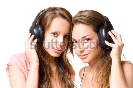 Osztás dallam kettő gyönyörű fiatal zene Stock fotó © lithian