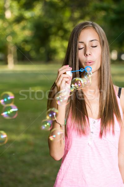 Cute пузыря воздуходувка портрет красивой Сток-фото © lithian