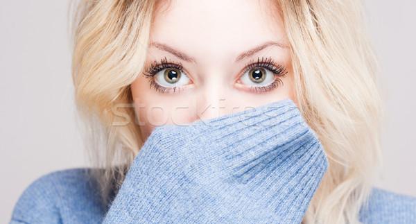 Bonitinho inverno moda menina retrato colorido Foto stock © lithian
