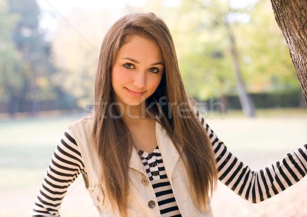 Stockfoto: Mooie · jonge · model · park · slank · brunette