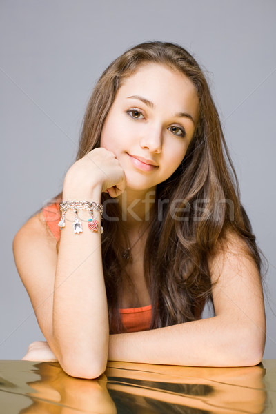 Freindly young brunette beauty. Stock photo © lithian