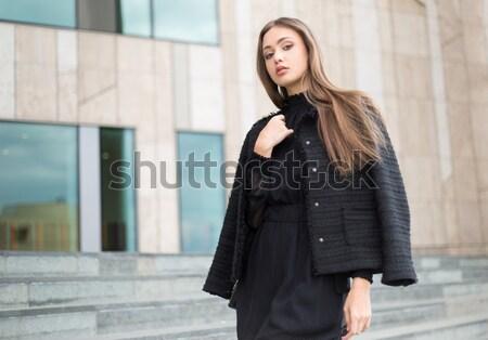 Cute attractive young shopper. Stock photo © lithian