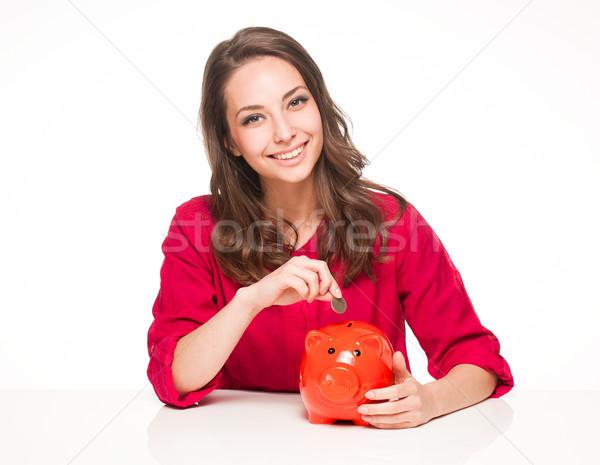 экономия портрет красивой молодые брюнетка Сток-фото © lithian