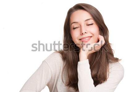 Portraits of a charming young expressive brunette beauty. Stock photo © lithian