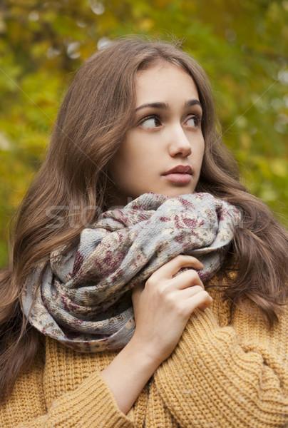 Brunette beauty in autumn clothes. Stock photo © lithian