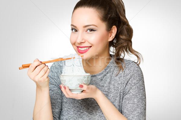 Sevimli esmer yeme portre Stok fotoğraf © lithian