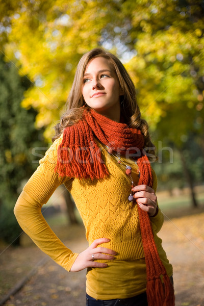 Dreamy fall fashion girl in colorful clothes. Stock photo © lithian