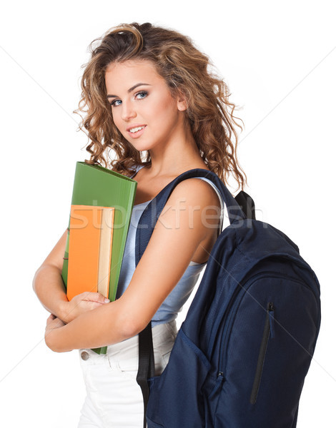 Beautiful young brunette student. Stock photo © lithian