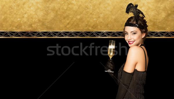 Art deco stijl partij meisje nieuwjaar gouden Stockfoto © lithian