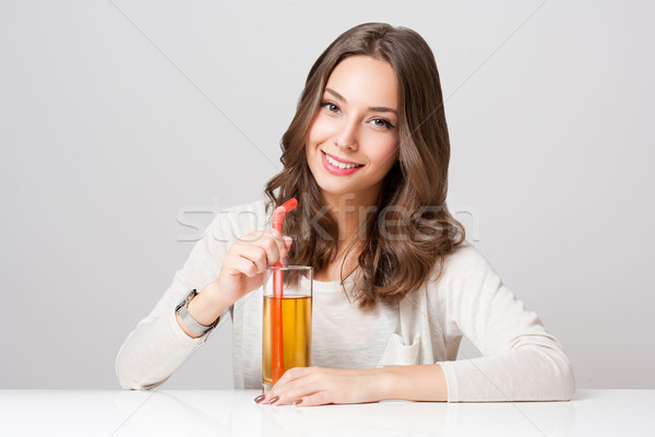 Healthy young brunette beauty. Stock photo © lithian