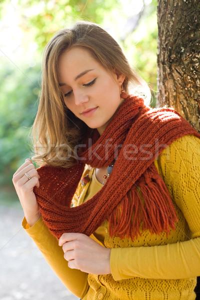 Dreamy young autumn fashion woman. Stock photo © lithian