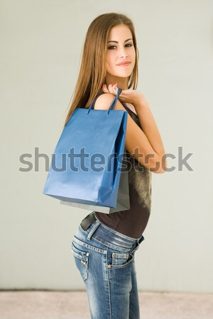 Cute attractive young shopper. Stock photo © lithian