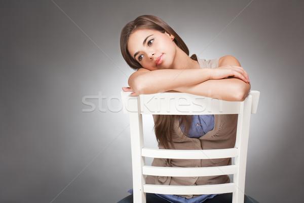 выразительный Cute молодые брюнетка портрет женщину Сток-фото © lithian