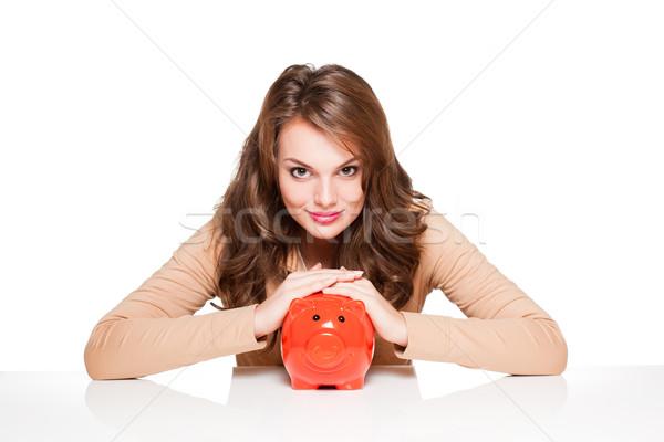 óra megtakarított pénz portré kifejező fiatal barna hajú Stock fotó © lithian