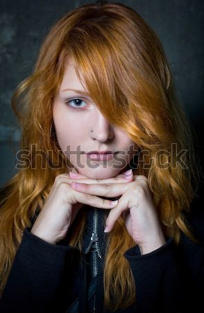 Szomorúság szeszélyes portré vörös hajú nő lány gyönyörű Stock fotó © lithian