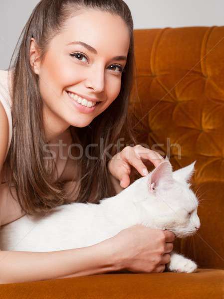 Her favorite pet. Stock photo © lithian
