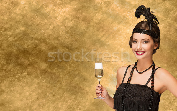 Art deco style party girl. Stock photo © lithian