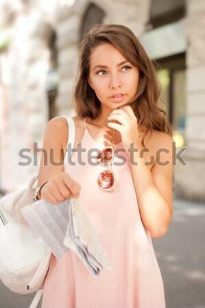 Kávé jókedv barna hajú portré fiatal szépség Stock fotó © lithian