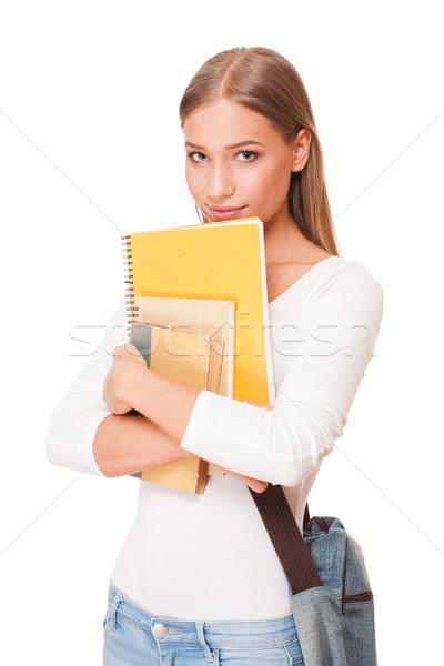 привлекательный молодые студент портрет осуществлять книгах Сток-фото © lithian