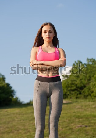 Fitt agilis fiatal barna hajú nő fut Stock fotó © lithian