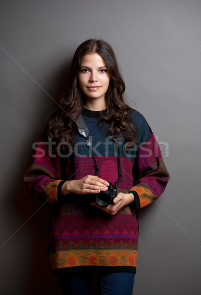 Beautiful young photographer. Stock photo © lithian