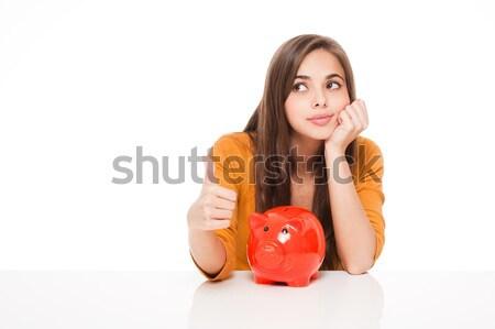 Geld mooie jonge brunette vrouw Stockfoto © lithian