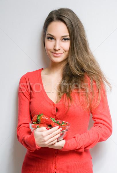 Stok fotoğraf: Genç · kadın · çilek · dostça · genç · esmer