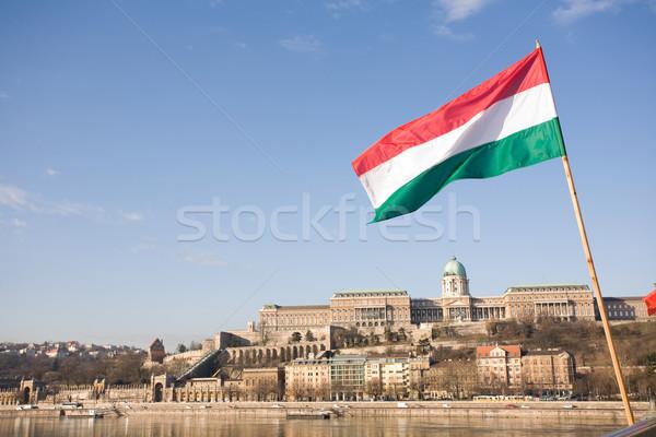 Magyar zászló kastély fényes reggel napfény Stock fotó © lithian